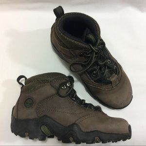 TIMBERLAND MID-TOP BROWN LEATHER BOOTS BOYS 12.5M